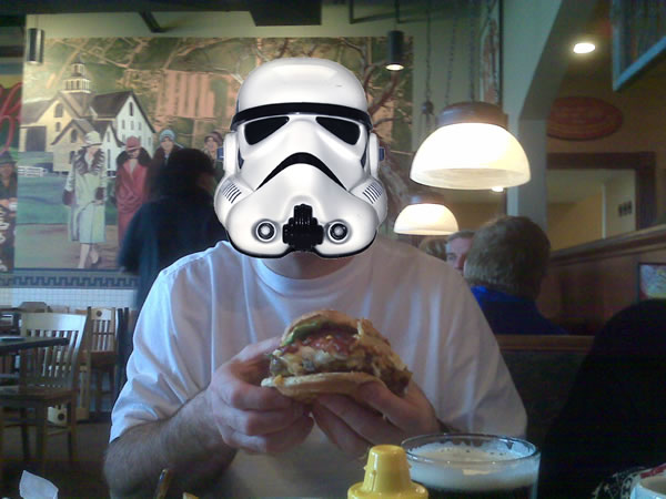 Stormtrooper Enjoys Max & Erma's Garbage Burger