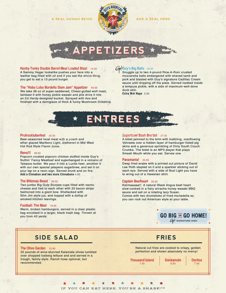 Hilarious Fake Guy Fieri Menu